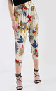 High Waisted Cropped Trousers in Cream Floral Print by Oops Fashion