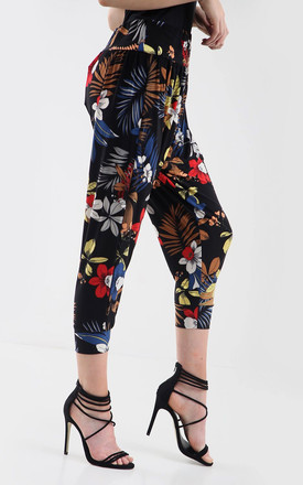 High Waisted Cropped Trousers in Tropical Floral Print by Oops Fashion