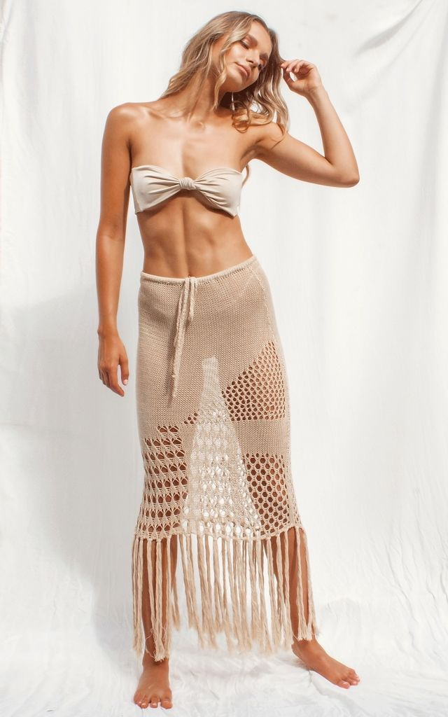 Namira Knit Midi Skirt in Nude by FLOOK THE LABEL