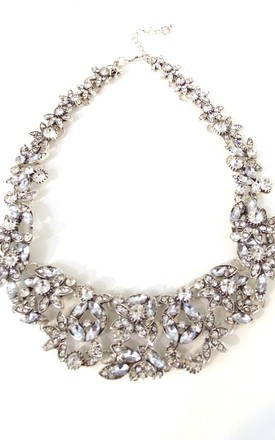 Silver Rhinestone Crystal Floral Statement Necklace by Olivia Divine Jewellery Product photo