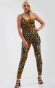 Fitted Strappy Jumpsuit in Mixed Animal Print by Oops Fashion