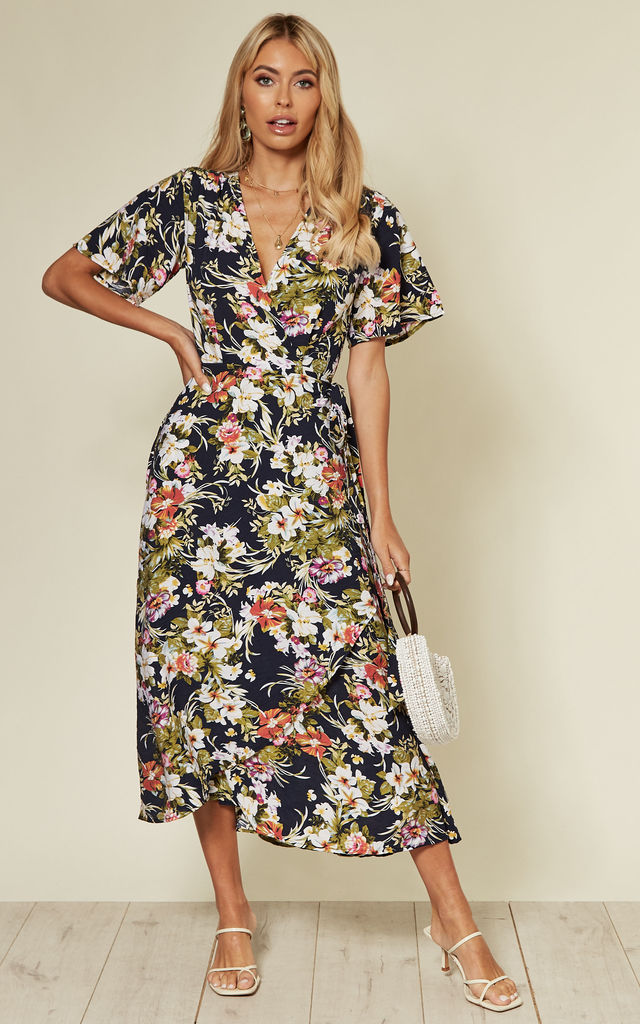 Wide sleeve wrap midi dress in navy floral print by D.Anna