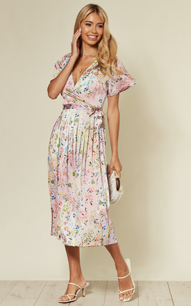 Satin Floral Print Short Sleeve Midi Dress With Belt In Pink by D.Anna Product photo
