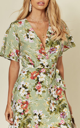 Wide sleeve midi wrap dress with multi colour floral print in fern green by D.Anna