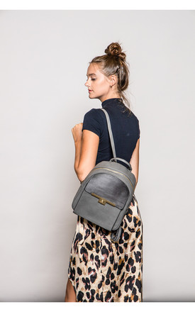 TWIST LOCK FRONT POCKET SUEDE BACKPACK GREY by BESSIE LONDON