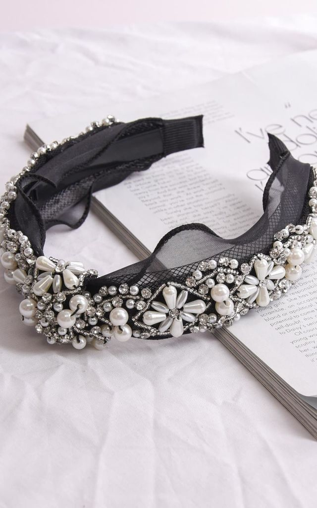 Knot front pearl and diamante embellished headband black by LILY LULU FASHION