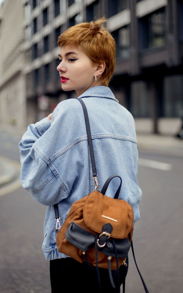 SUEDE BUCKLE AND DRAWSTRING BACKPACK in TAN by BESSIE LONDON