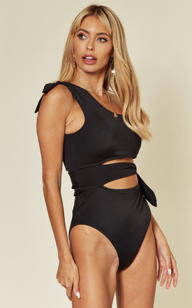 Sage One Shoulder Swimsuit in Black by Belles of London