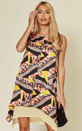 Sleeveless A line dress with button in multicolour print by D.Anna
