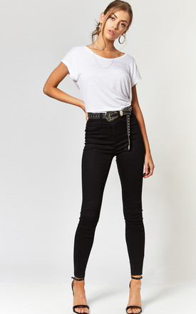 High Waist Skinny Jeans In Black by Noisy May Product photo