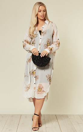 Long Sleeve Chiffon Shirt in White Large Floral Print by CY Boutique