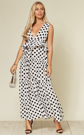 Deep V Neck Sleeveless Maxi Dress With Ruffles In White And Black Polka Dot by CY Boutique Product photo