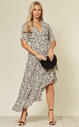 Ruffled Wrap Midi Dress In White And Black Sweetheart Print by CY Boutique Product photo