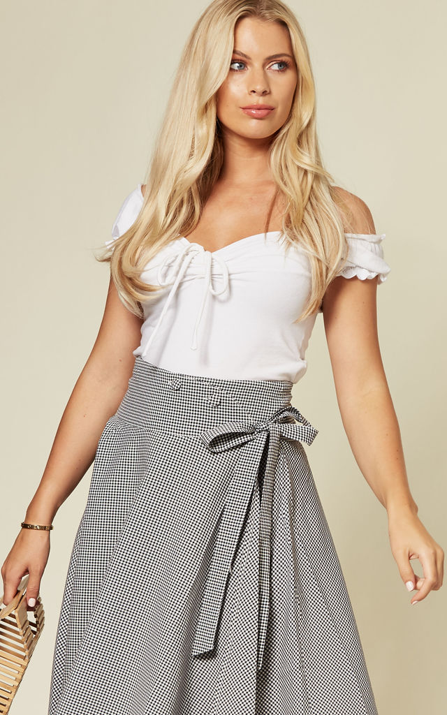Elizabeth Curved Waist Bow Skirt by Voodoo Vixen