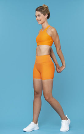 Power Ride Cycle Shorts In Burnt Orange by Skimmed Milk Product photo