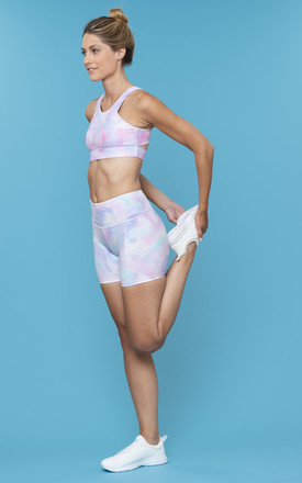 Power Ride Cycle Shorts In Pastel Macaron Brush Strokes by Skimmed Milk Product photo