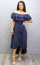 Celine Wrap Off the Shoulder Frill Dress - NAVY by Missfiga