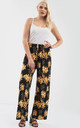 High Waisted Wide Leg Trousers in Yellow Floral Print by Oops Fashion