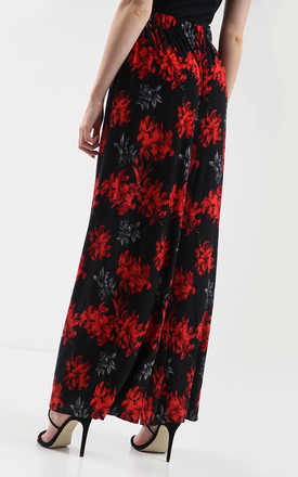 High Waisted Wide Leg Trousers in Red Floral Print by Oops Fashion