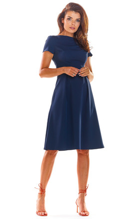 Skater Dress with Short Sleeves in Navy Blue by AWAMA