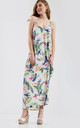 Oversized Strappy Maxi Dress in Cream Floral Print by Oops Fashion