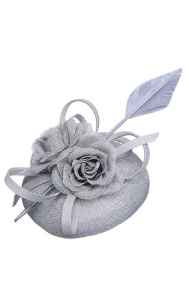 CORONA Grey Fascinator with Flowers & Faux Feathers by Ruby Rocks Boutique