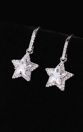Silver Drop Earrings with Stars by Olivia Divine Jewellery