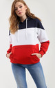 Zara Oversized Hooded Sweatshirt in Navy Red and White Stripe by Oops Fashion