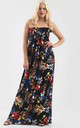 Tropical Print Black Bardot Shirring Maxi Dress by Oops Fashion