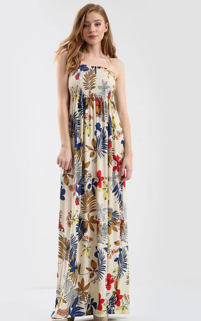Strapless Maxi Dress in Multi Floral Tropical Print by Oops Fashion