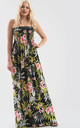 Strapless Maxi Dress in Green Leaf Tropical Print by Oops Fashion