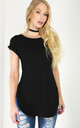 Short Sleeve T-Shirt with Curved Hem in Black by Oops Fashion