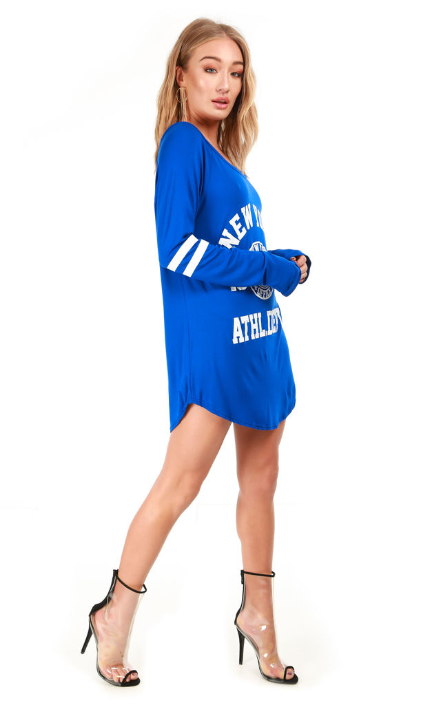 Blue Long Sleeve Tunic Dress with New York Slogan by Oops Fashion