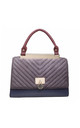 GREY FLAP OVER HANDBAG WITH VELVET TOP by BESSIE LONDON