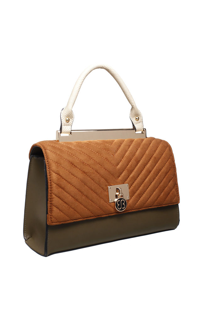 TAN FLAP OVER HANDBAG WITH VELVET TOP by BESSIE LONDON