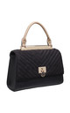 BLACK FLAP OVER HANDBAG WITH VELVET TOP by BESSIE LONDON
