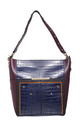 2-in-1 CROC SHOULDER BAG IN BLUE by BESSIE LONDON