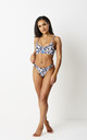 DEBBIE - Bikini With High Leg in White, Blue And Black Leopard Print by GIRL ALLIANCE
