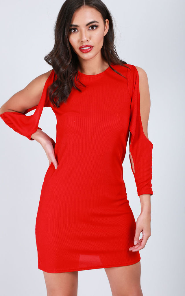 Mini Dress with Long Split Sleeves and Open Back in Red by Oops Fashion