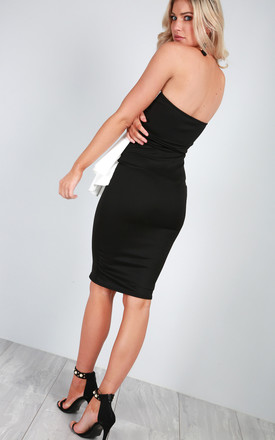 Off Shoulder Peplum Bodycon Dress in Black by Oops Fashion