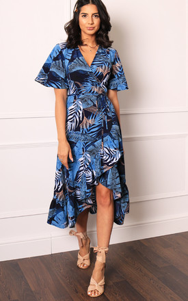 Palm Leaf Print Wrap Over Midi Dress With Frill Skirt & Short Angel Sleeve In Navy Blue by One Nation Clothing Product photo