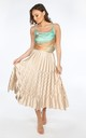 Gold Satin Chevron Pleated Maxi Skirt by Dressed In Lucy