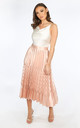 Pink Satin Chevron Pleated Maxi Skirt by Dressed In Lucy