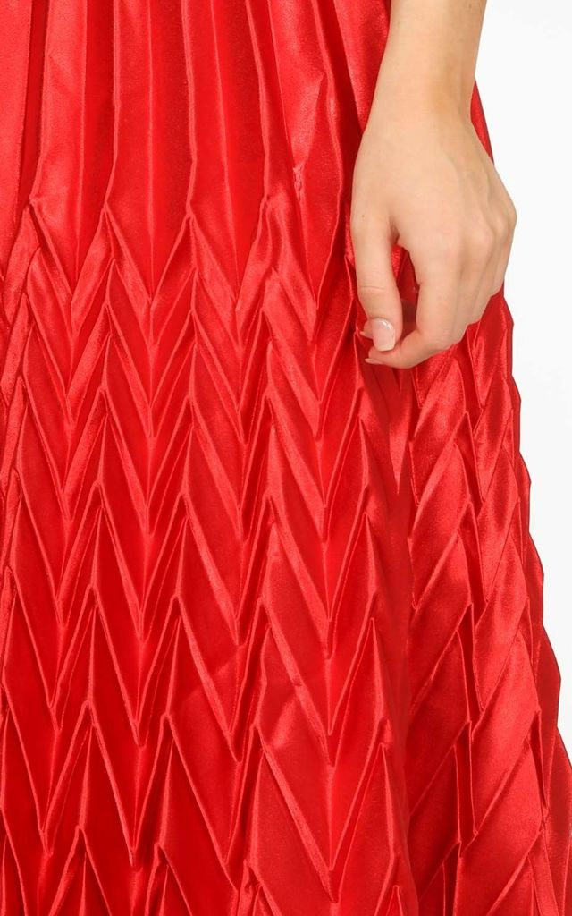 Red Satin Chevron Pleated Maxi Skirt by Dressed In Lucy