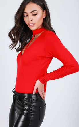 Red Long Sleeve Bodysuit with Choker Neck by Oops Fashion