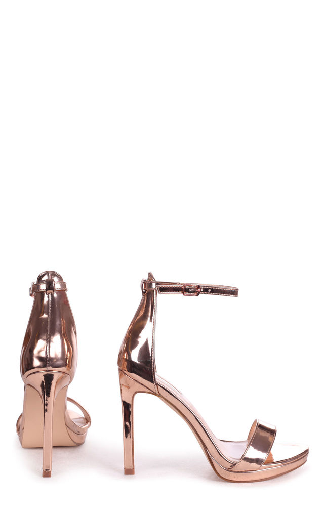 Gabriella Barely There Stiletto Heels in Rose Gold Chrome by Linzi