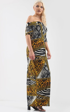 Off Shoulder Maxi Dress in Mixed Animal Print by Oops Fashion