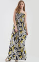 Strapless Maxi Dress in Yellow and Navy Tropical Print by Oops Fashion