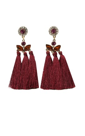 Scarlet Ornate Jewel Tassel Earring by SVNX