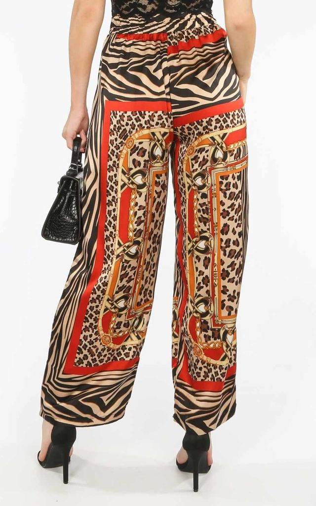 Scarf Print Satin Trousers with Tie Waist by Dressed In Lucy